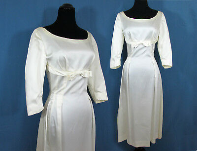 1960s Midi Length Wedding Dress - Ivory Satin - Sm