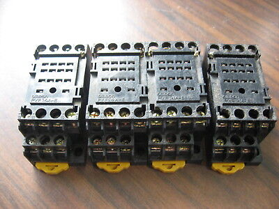 Lot of 4 Omron PYF14A-E Cube Relay Bases (14 Pin Square ) 5A, 250V