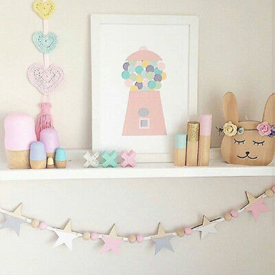 Nordic Style Wooden Bead Hanging Tassel Stars Kids Bedroom Decor Ornament CB