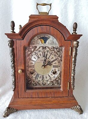 Warmink Mantel Clock Dutch Shelf Bracket Oak Wood 8 Day Moonphase Bell Strike