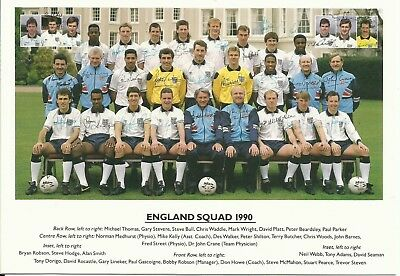 1990 ENGLAND World Cup Squad, Official Colour Team Photograph, MINT!