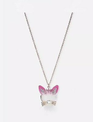 Justice Girl's Fuzzy BUNNY Long Pendant Necklace New with Tags