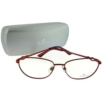 f2ec552b93bf Swarovski SK5149-066-54 Oval Women's Red Frame Clear Lens Genuine Eyeglasses  NWT