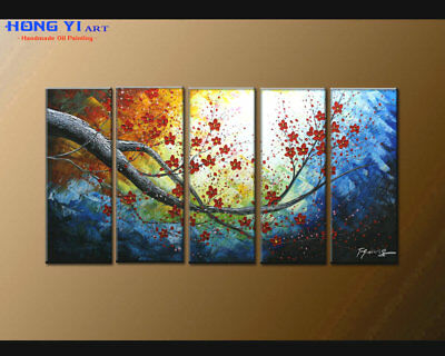 Large Framed Abstract Flower Oil Painting Art Wall Modern Decor on Canvas FY3659