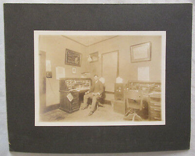 """Antique CABINET PHOTO Card 1900s INSURANCE OFFICE Phone 10"""" Original Graphic"""