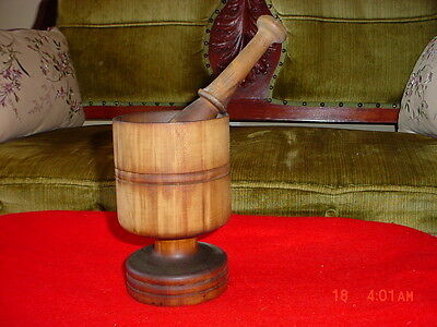 Antique Wooden Mortar & Pestle Pharmaceutical Pharmacy or Herb Spice Grinder Old