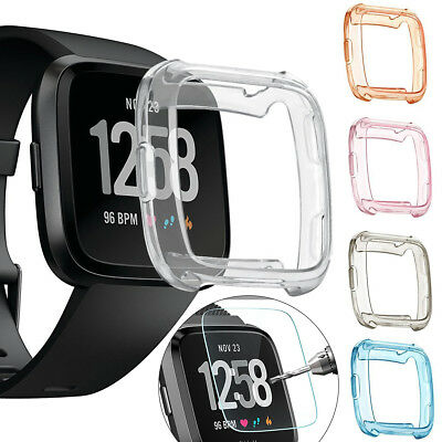 Bumper TPU Silicone Gel Case Cover + Tempered Screen Protector For Fitbit Versa