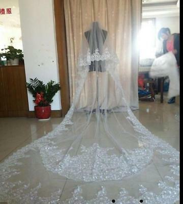 Wedding Veils Ivory White Cathedral 2 Tier Comb Bridal Veil Accessories Sequins