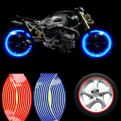 "18"" 16 Strips Reflective Motorcycle Car Rim Stripe Wheel Decal Tape Sticker New"