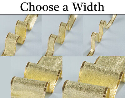 15mm-100mm Gold Luxury Metallic Lamee Wired Craft Ribbon