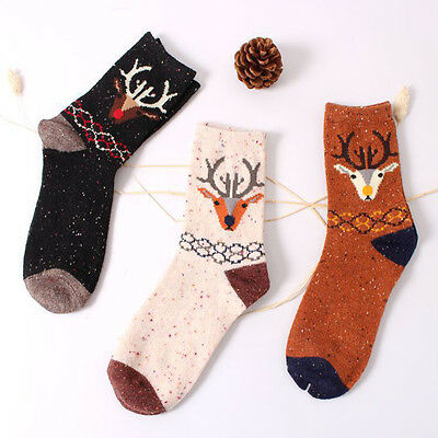 100% Cotton Women Girls Cute Deer Cartoon Cotton Wool Warm Socks Christmas  Pop.