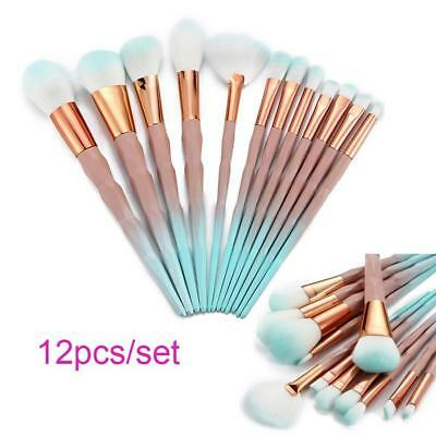 12Pcs  Make up Brushes Face Powder Blusher Foundation Kabuki Contour Set S Uzlh