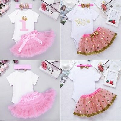 9d711d865c7bf IT'S MY FIRST Birthday Dress 4pcs Baby Girls Romper+Tutu Skirt+ ...