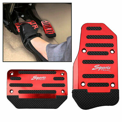 2x Red Universal Automatic Racing Sports Non-Slip Pedal Brake Gas Pad Car Cover
