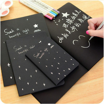 1x 56K Black Paper Sketch Book Diary for Drawing Painting Graffiti Soft Cover