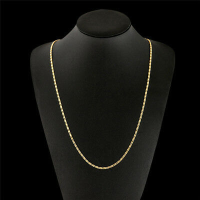 "16-30"" 18K Gold Plated Link Chain Flat Jewelry Thin Necklace Charm Women Men"
