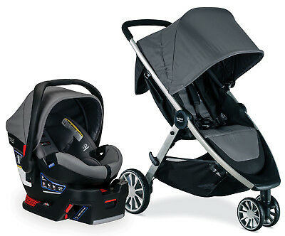 Britax B-Lively Stroller & B-Safe Ultra Infant Car Seat Travel System Gris NEW