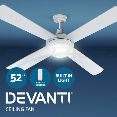 Devanti 52'' 1300mm Ceiling Fan 4 Wooden Blade With Light Remote Control White