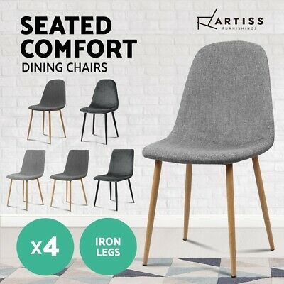Artiss 4X Dining Chairs Fabric Velvet Seat Kitchen Cafe Modern Iron Leg Grey