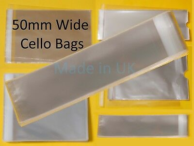 50mm Wide Clear Tall/Slim Cello Display Bags - Cellophane Bag for Bookmarks