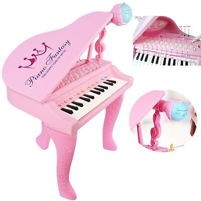 Kids Electronic Pink Piano Musical Instrument Keyboard Organ Microphone, 25 Key