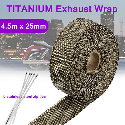 4.5m Titanium Exhaust Shield Tape Header Webbing Heat Wrap Pipe Insulation +Ties