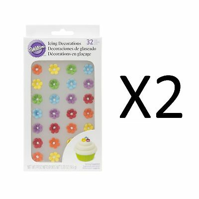 """Wilton Royal Flower Icing Decoration 1/2"""" Mini Daisies Candies 32 Count (2-Pack)"""