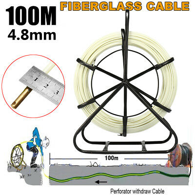 4.8mm*100m Fiberglass Wire Cable Fish Tape Running Rod Duct Puller Electric Reel
