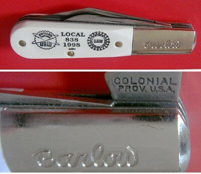 Mint Condition Colonial USA Barlow Knife: UAW Local #838 John Deere Waterloo IA