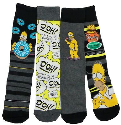 Mens Simpsons Socks Pack of Four in Two Sizes 6-8.5 and 9-12 Mens Shoe Size