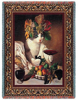 Throw Tapestry Afghan - Bacchus Cat 1889