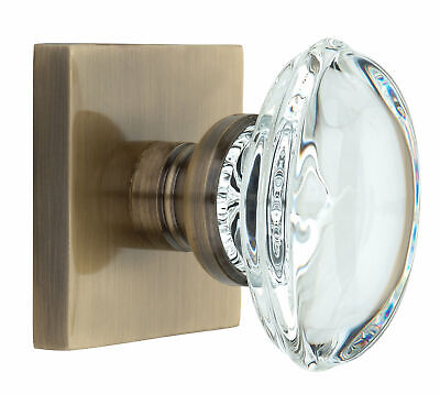 Knoxx Hardware Oval Crystal Door Knob with Square Rosette