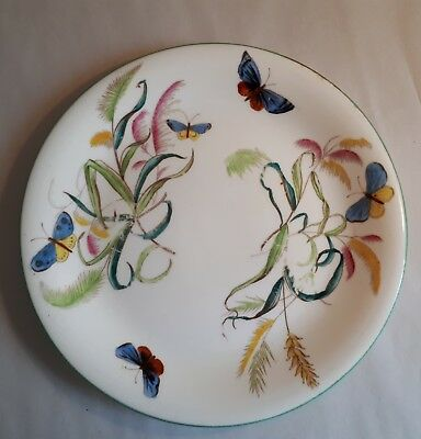 Antique c1860 Victorian Hand-Painted Dinner Plate. Butterfly & Grasses. English