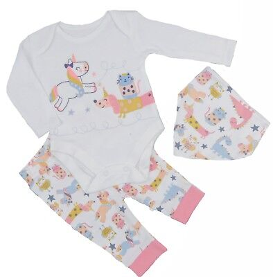 Baby Girls Unicorn Pyjamas 3 Piece  Long Sleeved top and leggings Dribble Bib