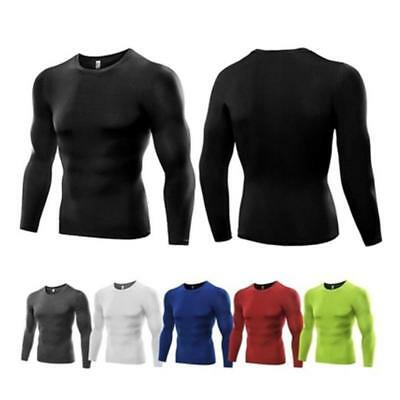 Mens Solid Compression Under Base Layer Sport Gym Top Long Sleeves T-shirt CB