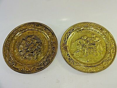 "(2) Vintage Peerage 9 1/4"" Embossed Brass Wall Plates England Barmaid + Bard"