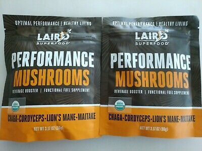 2 Laird Superfood Performance Mushrooms Blend Beverage Booster Energy Recovery