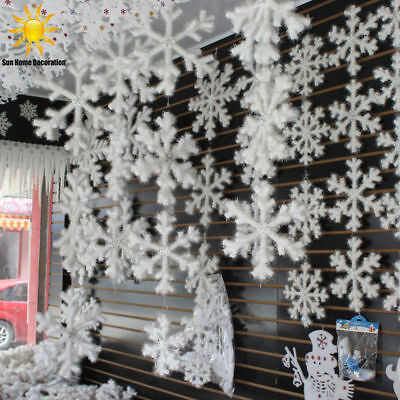 12/30/60 Pcs Christmas Party White Classic Snowflake Snow Ornaments Tree Decor