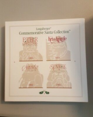 Longaberger 1993 Pewter Commemorative Santa Collection Ornaments Set of 4 In Box
