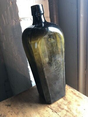 Antique Gin Bottle Dark Olive Green Case Bottle 19th Century