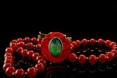 Antique Chinese Carved Apple Green Jade Carnelian 14K Gold Necklace Apc-804