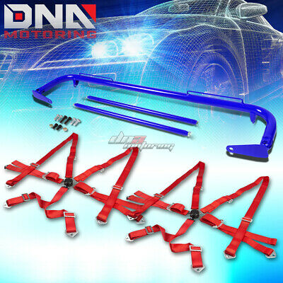 """Blue 49""""stainless Steel Chassis Harness Rod+Red 6-Pt Strap Camlock Seat Belt"""