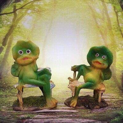 Frog Couple Figurine Miniature Faerie Garden Diorama Husband & Wife Gift Decor