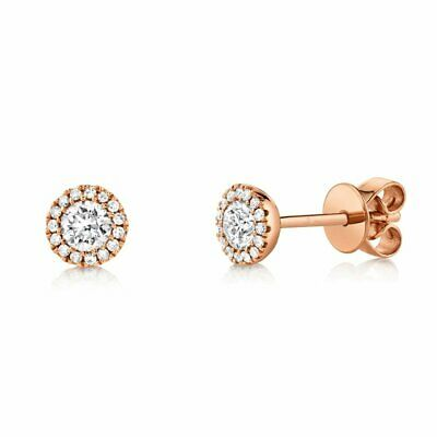0.48ct 14K Rose Gold Natural Round Brilliant Diamond Solitaire Stud Halo Earring