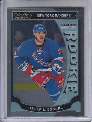 15/16 OPC Platinum New York Rangers Oscar Lindberg Rookie RC card #M34