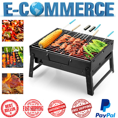 BBQ Charcoal Grill Folding Cast Iron Black Stainless Steel Portable Barbecue New