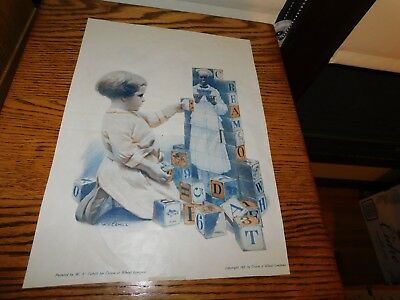 1910 Cream of Wheat Ad Original Girl Building Blocks Victorian Lady Dress Ad