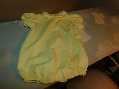 Thomas Vintage Yellow Baby Girl Romper Ex Large Collar has Crochet Trim