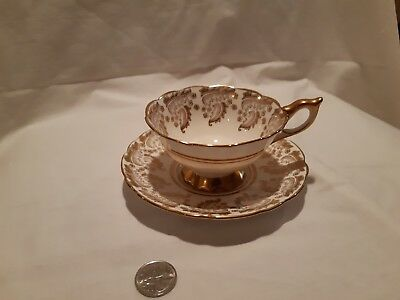 Royal Stafford Tea Cup And Saucer Set With  Gold Leaves Gilt