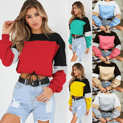 Round Neck Tops Blouse Long Sleeve Color Matching Lacing Shirt Sweater Women